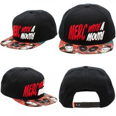 a5348a64a11 New Marvel Deadpool Black Snapback Hat Merc With A Mouth Cap Comics Cosplay   Deadpool