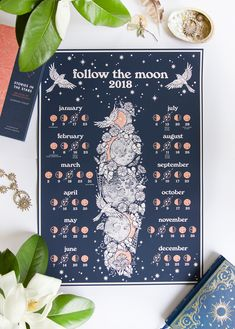 Follow the Moon, 2018 lunar calendar by @raychponygold (Aus/NZ southern hemisphere version pictured) // #illustration #drawing #lunar #calendar #design