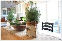 Bring the outdoors in! Add plants to the table top to complete a 'green' looking home.
