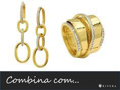 Brincos e anel folheados a ouro 18k cravejados com zircônias e detalhes em ouro branco.