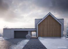 Projekt domu LK&1511 Scandinavian Architecture, Scandinavian Home, Modern Architecture, Modern Barn House, Modern House Plans, House Roof, Facade House, House Cladding, Architectural Design House Plans