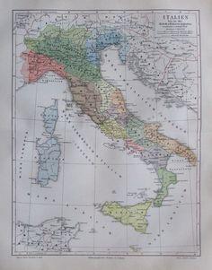 1897 Italien bis in die Zeit des Kaisers Augustus - alte Landkarte Litho map