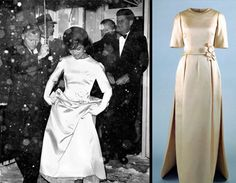"""The """"dress that changed the world"""", designed by Oleg Cassini for First Lady Jacqueline Kennedy and worn at the Inaugural Gala Ball, Jan. 1961."""