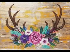 Rustic Antlers with Easy Flowers Acrylic Painting Tutorial for Beginners LIVE - YouTube