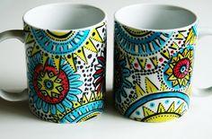 create your own mugs...love the mandala; mandalas w/beads, buttons, sea glass, stones, shell
