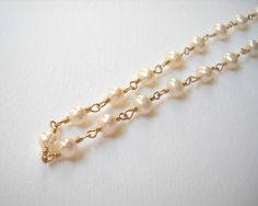Pearl Necklace Long Necklace Gold Filled by VeronicaRussekJoyas