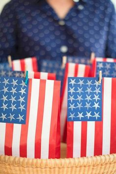 of july favor bags oh happy day! party ideas in 2019 July 4th Holiday, Fourth Of July Food, Happy Fourth Of July, 4th Of July Party, Hello July, Baby Boy 1st Birthday, Patriotic Party, Time To Celebrate, Favor Bags