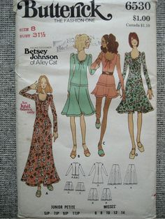 Vintage 70s Betsey Johnson of Alley Cat Pattern Butterick 6530 Size 8 via Etsy