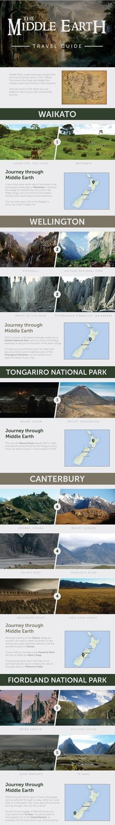 New Zealand LOTR and Hobbit locations. I want to go to every place. O_O