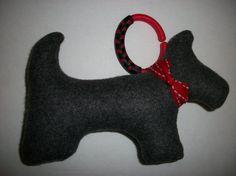 grey fleece Scottie Dog rattle for baby by threebearscottage, $7.50