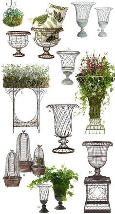 Garden Design French-Inspired Outdoor Wire Planters - French country is having a moment again (have you been noticing?), and there are a ton of reproduction wire urn planters in shops this spring. They need to be lined, either with burlap, coconut fib… Country Landscaping, Garden Landscaping, Landscaping Design, Urn Planters, Outdoor Planters, Planters Flowers, Outdoor Garden Decor, Diy Flowers, Garden Urns