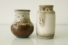 Pair 2 WEST GERMAN VASES Two Vintage Ceramic Pottery Ruscha Scheurich Fat Lava 1960s Mid-Century Modern Instant Collection