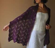 BRIDAL SHAWL wedding wrap soft and warm lacy pattern purple color perfect for winter. $98.00, via Etsy.