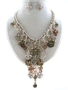Silver Gold Copper Cross Fleur Di Lis & Tiara Crystal Dangling Bib Necklace Set