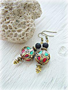 Tibetan Earrings Tibetan Jewelry Gypsy por HandcraftedYoga