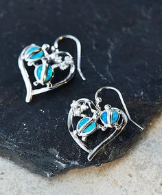 Look at this #zulilyfind! Blue Opal & Cubic Zirconia Turtle Heart Drop Earrings #zulilyfinds