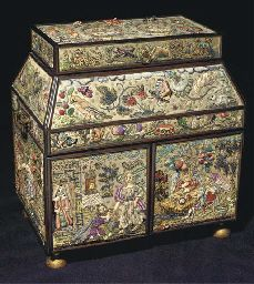 An embroidered casket, the fronts worked with angels taking tea, and with the Sacrifice of Isaac, and many three dimensional fruits and flowers, signed Leonora Jenner, 1940--13in x 12in x 9in, 20th century in 17th century style