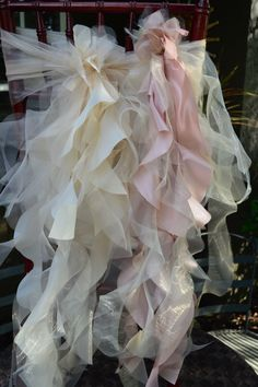 Set of 10 Custom Chair Sashes Curly Accents & Optional Chair Cover Sleeve for Wedding or Special Event Chair Ties, Chair Sashes, Wedding Rentals, Wedding Events, Weddings, Wild Irish Rose, Pew Decorations, Pew Ends, Curly Willow