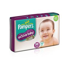 Pampers Active Baby Medium Size Diapers (62 Count) - Baby Diapering