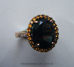 Vintage SMOKEY QUARTZ Halo RING in Gold with pave set Citrines and Diamonds