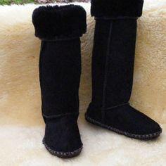 Extra tall sheepskin boots. $250