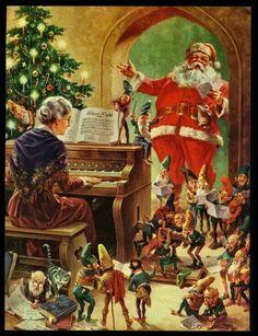 Ms. Claus and Santa and Elves singing Christmas Carols