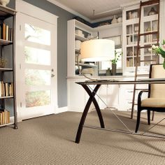 Caress by Shaw - contemporary - home office - other metro - Shaw Floors (Almost the exact look I'm going for - white cabinetry, gray walls, light brown carpet)