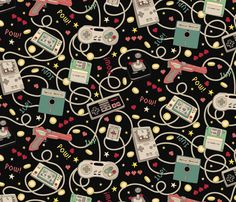 Favourite Game Retro-Colourway Black fabric by teja_jamilla on Spoonflower - custom fabric