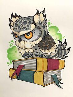 Owl Art, Bird Art, Cute Owl Drawing, Cartoon Owl Drawing, Cute Owl Cartoon, Owl Tattoo Drawings, Tattoo Owl, Desenho New School, Buho Tattoo