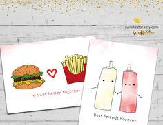 Cute Fast Food Clipart: Digital Clipart, Digital Download, Junk Food Clipart, commercial use, burger, hamburger, hot dog, cute gift card