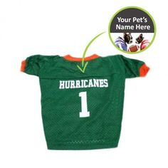 ce7054dd980 Officially licensed personalized Miami Hurricanes dog jersey! This College Football  dog jersey