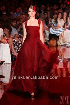 T Station Show Asymmetrical Pleated Red Chiffon Evening Dresses 2013 With Sash gs 1502