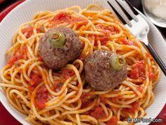 Spaghetti Brains and Eyeballs perfect Halloween dinner