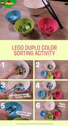 Use LEGO DUPLO bricks and some basic kitchen supplies to create this simple fine motor skills activity for your busy toddler. Stir small LEGO DUPLO bricks together in a mixing bowl, then give your toddler a pair of plastic kitchen tongs to pick the bricks up from the big bowl and move them to smaller bowls. If you have enough similar colored bricks, you can also make this into a color sorting activity too. Get the colorful bricks here.