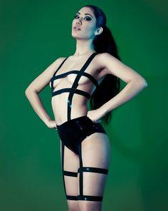 kraitt.com, bdsm, girl, dark, black, bdsm girl, latex, latex dress, cyber style, futuristic style, cyber clothes, swimsuit, black swimsuit by FuturisticNews