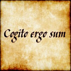Cogito ergo sum - words of wisdom that need no translation. Rene Descartes.