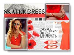 """Cut out skater dress"" by hevsyblue2 ❤ liked on Polyvore"