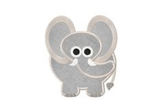 Grey Elephant Includes Both Applique and Filled Stitched