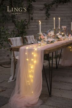 Perfect for wedding! This extra-long floating tulle table runner is romantic and garden-like. party table Perfect for wedding! This extra-long floating tulle table runner is romantic and garden-like. Wedding Reception Ideas, Classy Wedding Ideas, Backyard Wedding Receptions, Long Wedding Tables, Romantic Wedding Decor, Whimsical Wedding, Outdoor Wedding Lights, Wedding Table Runners, Outdoor Party Decor