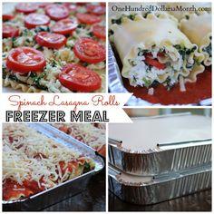 Freezer Meals – Spinach Lasagna Rolls