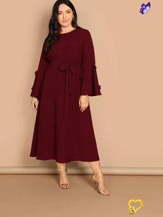 فساتين اليومية للنساء الوزن الزائد و حتى الوزن المتوسط ، ركزي على قصة الفستان و اللون ❤  <br> Big Size Dress, Plus Size Dresses, Belted Dress, Dress P, Hijab Dress, Dress Clothes, Bell Sleeve Dress, Bell Sleeves, Moda Plus Size