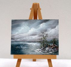 Evening Ocean Storm 3x4 inches  original by valdasfineart on Etsy