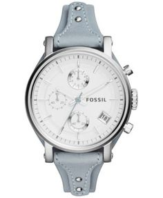 Fossil Women's Chronograph Original Boyfriend Smokey Blue Leather Strap Watch 38mm ES3820