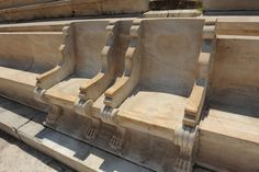 Emperors chairs in ancient olympic stadium in Athens