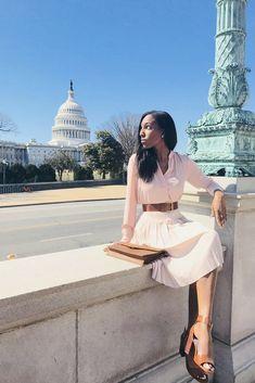e05c256f9b Spring Fashion with cream midi skirt, beige heels, brown belt, pink blouse. Lana  Jackson ...