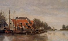 Camille Corot Near Rotterdam, Small Houses on the Banks of a Canal 1854