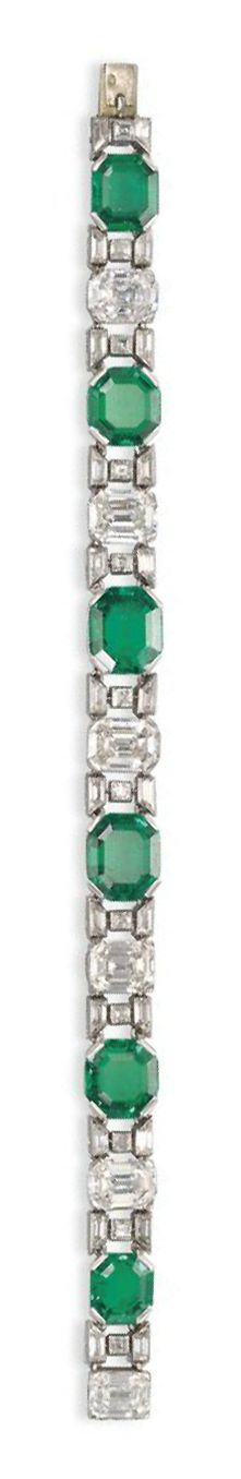 AN ART DECO EMERALD AND DIAMOND BRACELET, BY VAN CLEEF & ARPELS  The six graduated octagonal-cut emeralds alternated with six cut-cornered rectangular-cut diamonds, each flanked with square- and tapered baguette-cut diamond spacers, circa 1925, 17.5 cm, with French assay marks for platinum and gold, in blue leather Van Cleef & Arpels case Signed Van Cleef & Arpels Paris, no. 23785