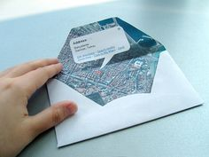 envelope made from Google map of return address