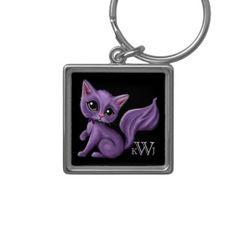 Purple Kitty Monogram Premium Keychain