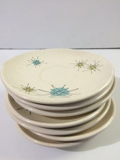 Franciscan Starburst Set of 7 Saucers